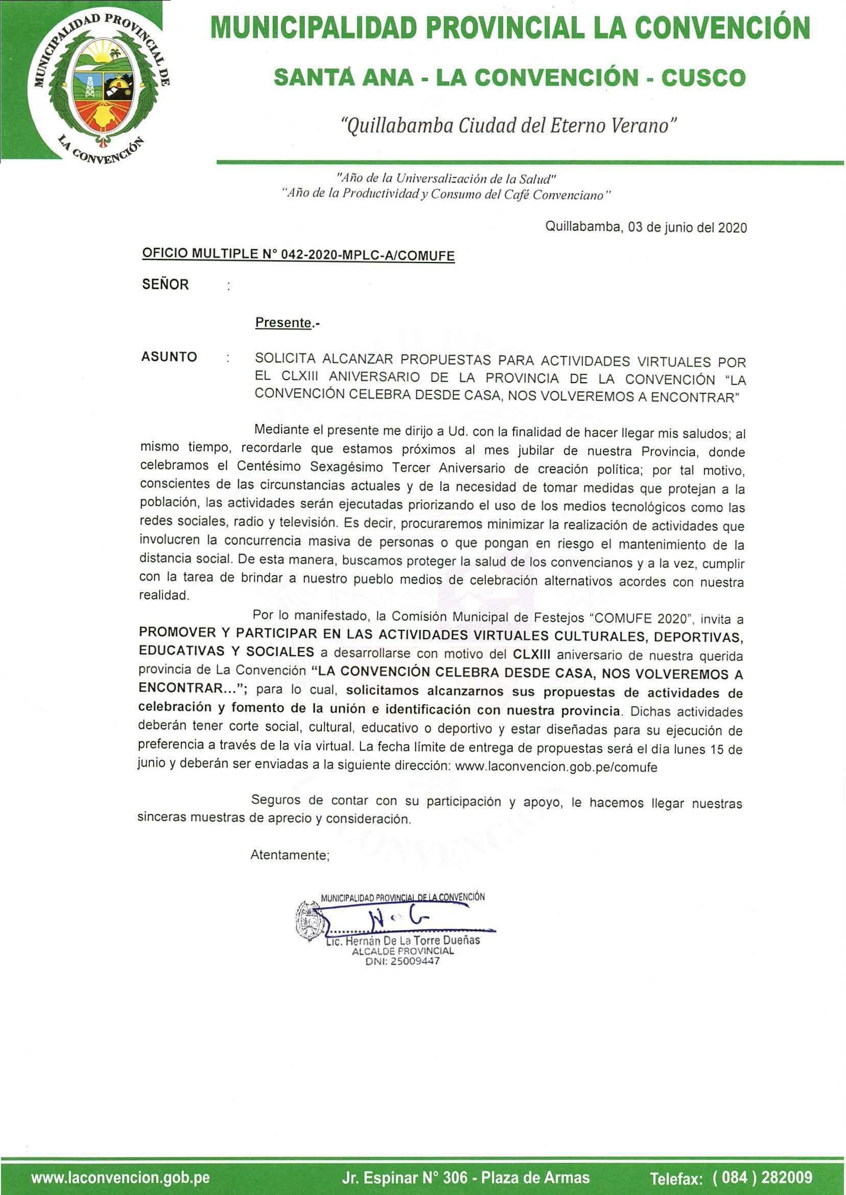 Solicita alcanzar propuestas para actividades virtuales por el CLXlll aniversario de la provincia de La Convención